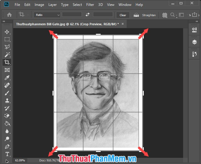 Bạn kéo vùng Crop ra 4 góc để tạo khung cho bức ảnh và sau đó nhấn Enter để hoàn tất tạo viền trắng