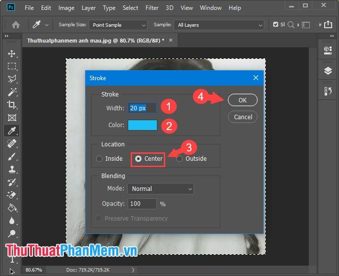 Chọn màu sắc mà bạn thích và nhấn chọn Center rồi click OK