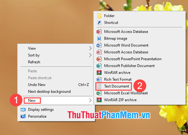 Chọn Text Document