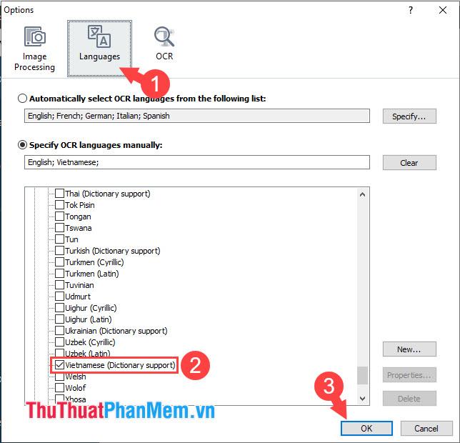 Chọn thẻ Languages rồi đánh dấu mục Vietnamese