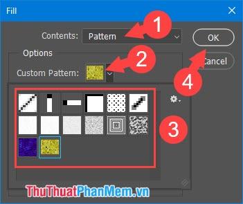 Click Custom Pattem và chọn mẫu hoa văn phù hợp
