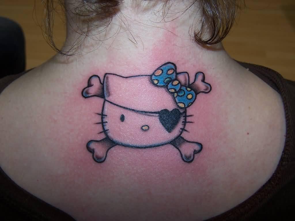 Hình xăm Hello Kitty ở cổ đẹp nhất