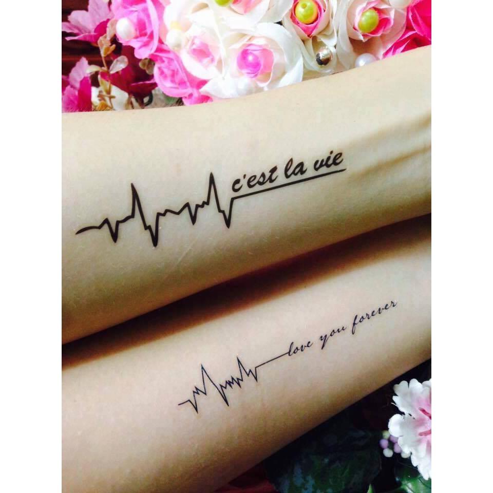 Hình xăm nhịp tim ở bắp tay đẹp nhất