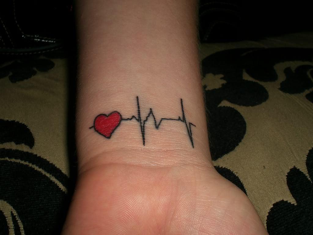 Hình xăm nhịp tim ở cổ tay đơn giản nhất