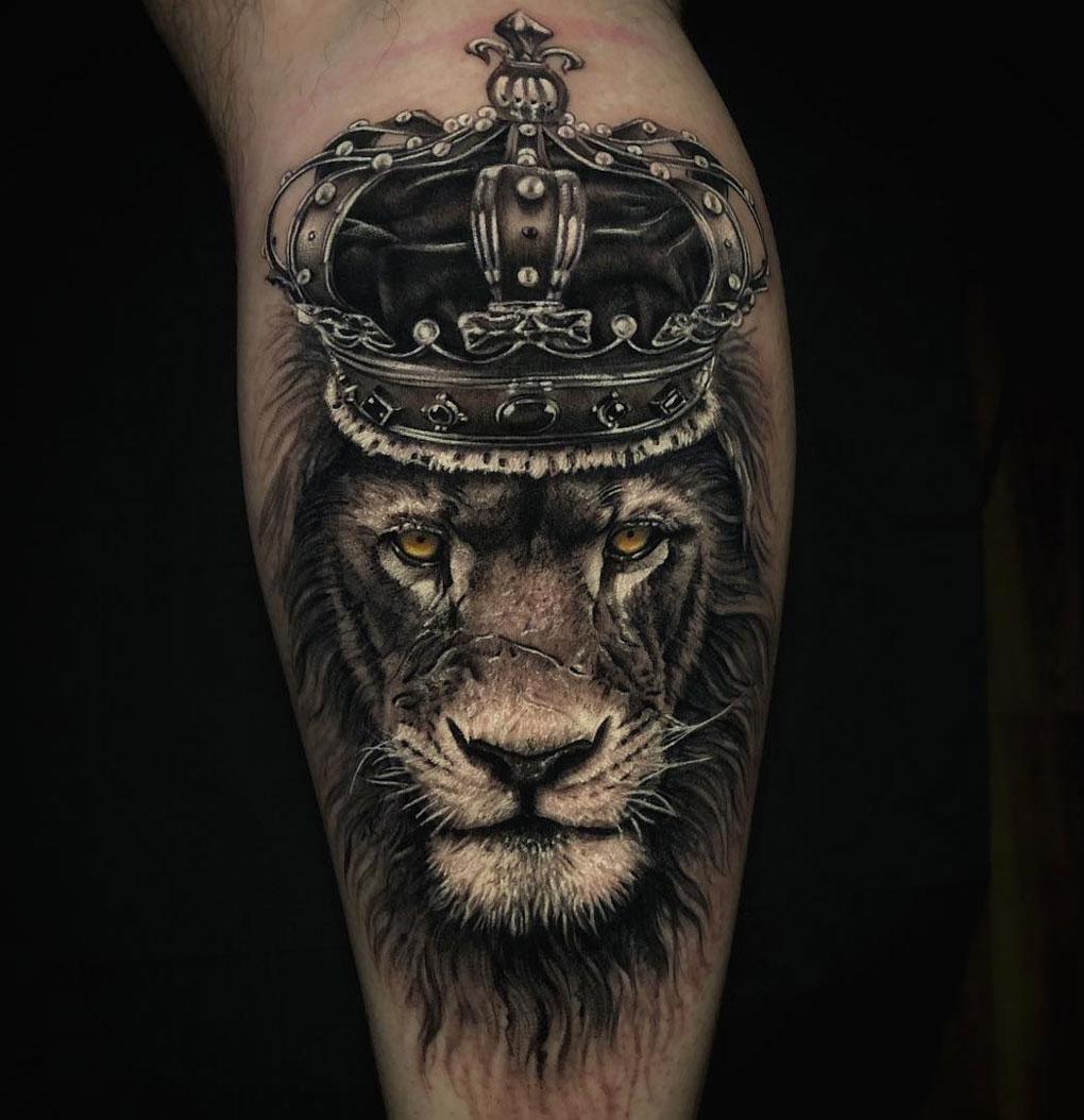 Hình xăm sư tử đội vương miện đẹp nhất