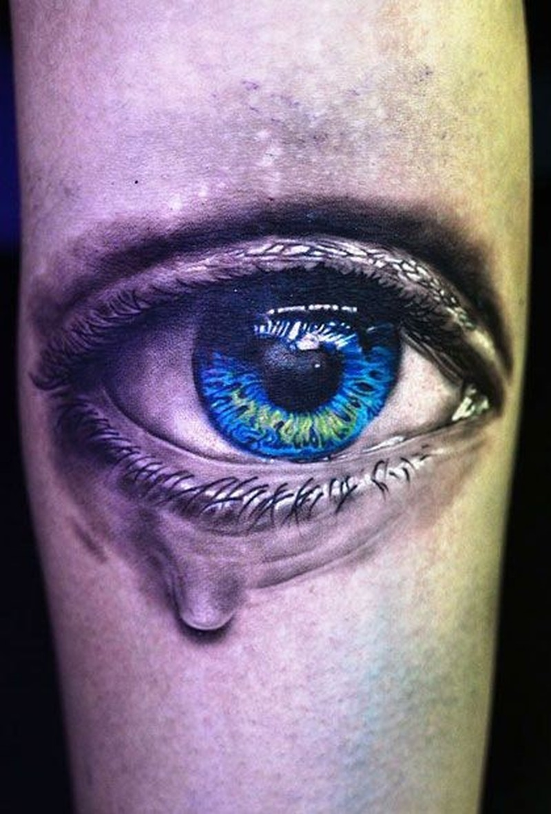 Xăm hình con mắt khóc đơn giản nhất