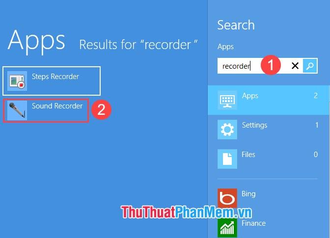 Nhập từ khóa tìm kiếm recorder và chọn ứng dụng Sound Recorder