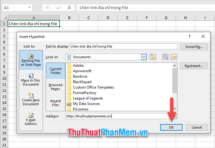 Chọn Existing File or Web Page
