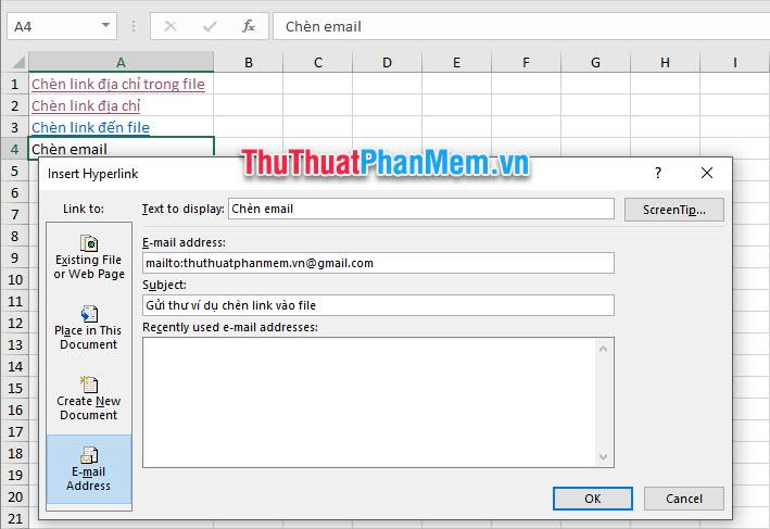 Điền các thông tin như địa chỉ mail cần gửi ở E-mail address, tiêu đề cho bức thư ở Subject