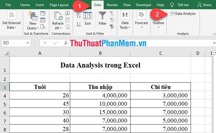 Chọn biểu tượng Data Analysis