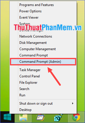 Chọn Command Prompt (Admin)
