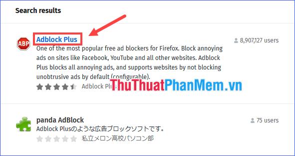 Click vào kết quả Adblock Plus