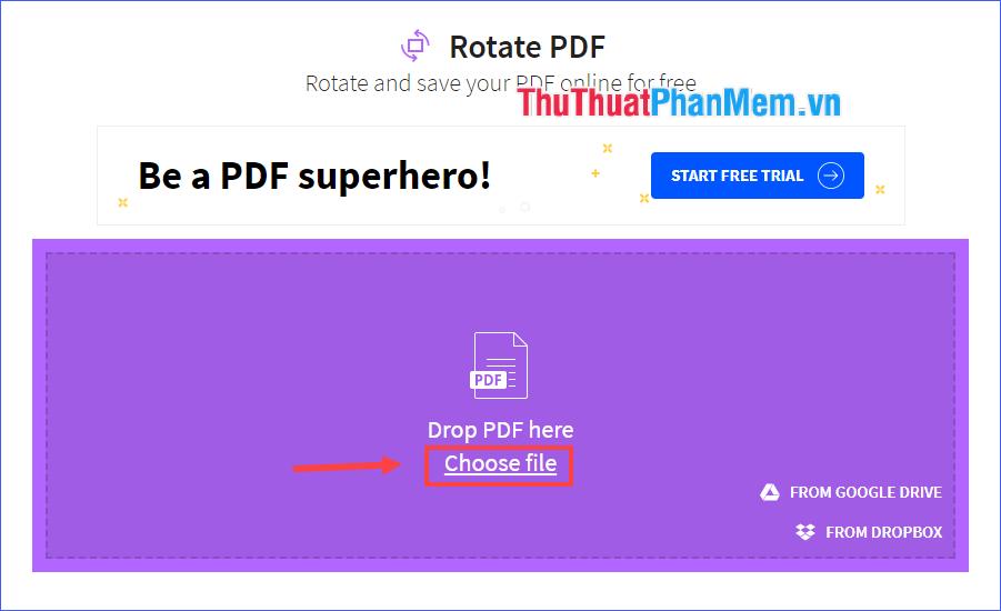 Dùng chuột kéo file PDF cần xoay rồi thả vào vùng Drop PDF here