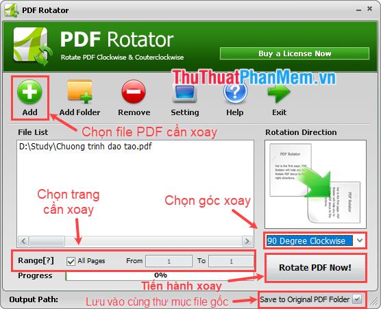 Xoay file PDF bằng phần mềm PDF Rotator