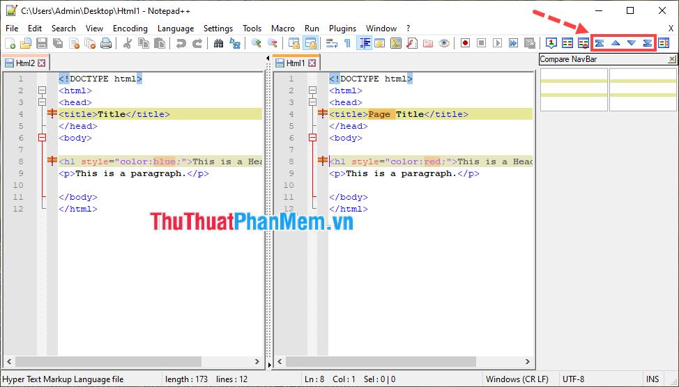 Cả 2 file text sẽ được hiển thị bên cạnh nhau và những dòng có sự khác biệt sẽ được tô màu để làm nổi bật