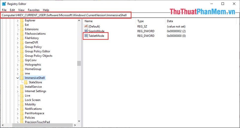 Click đúp vào TableMode để tiến hành chỉnh sửa