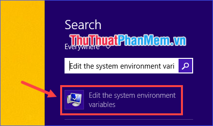 Mở Edit the system environment variables