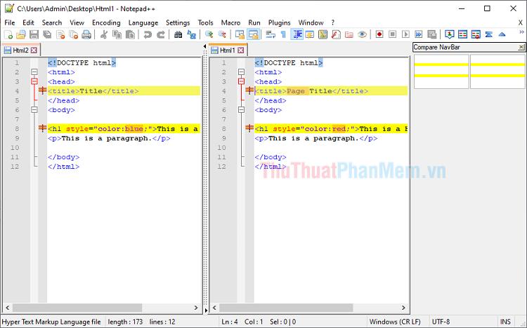 So sánh nội dung 2 file text bằng Notepad++