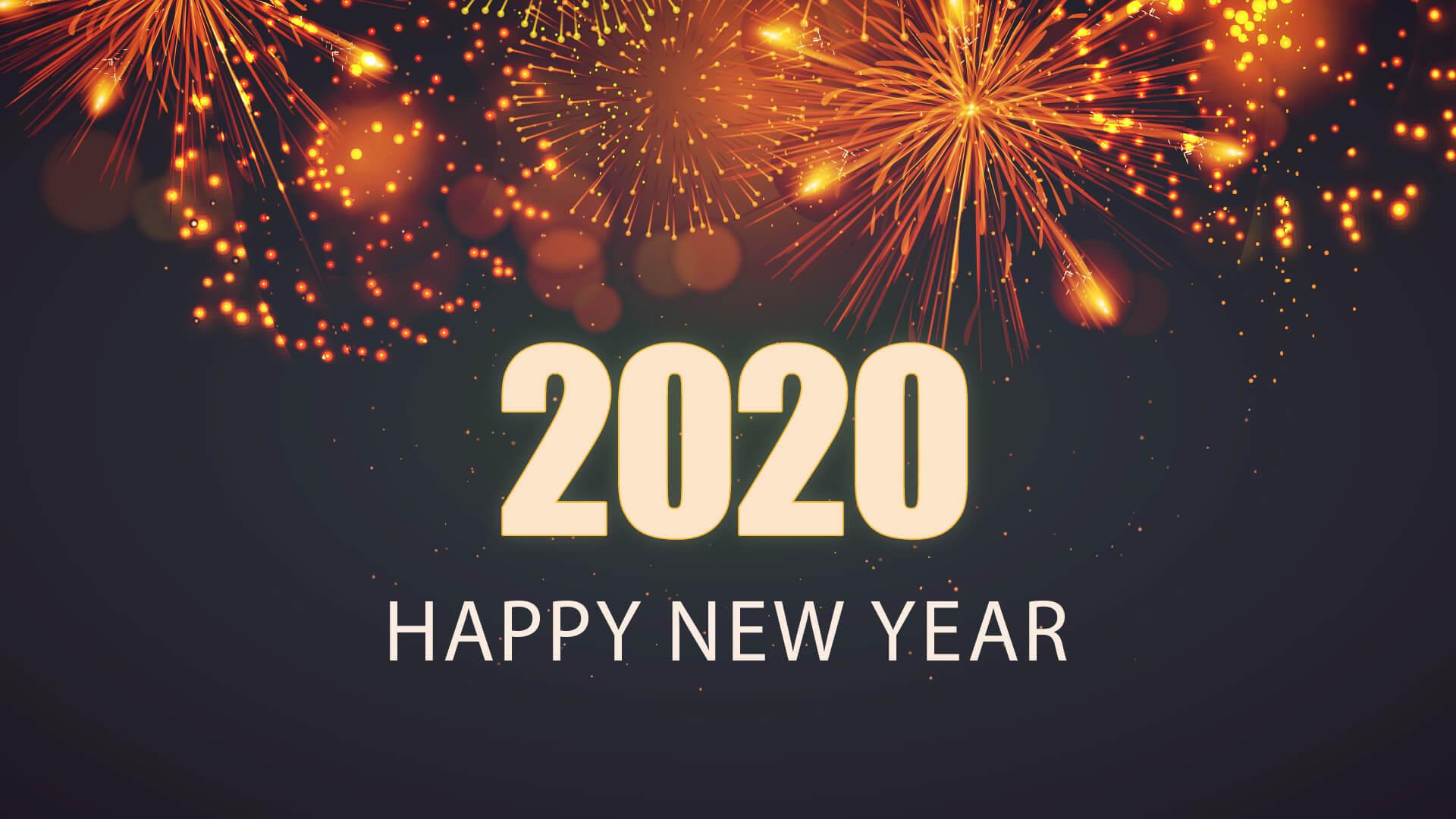 Hình nền năm mới 2020 với pháo hoa