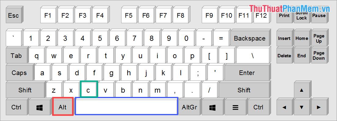 Phím tắt Alt + Space + C