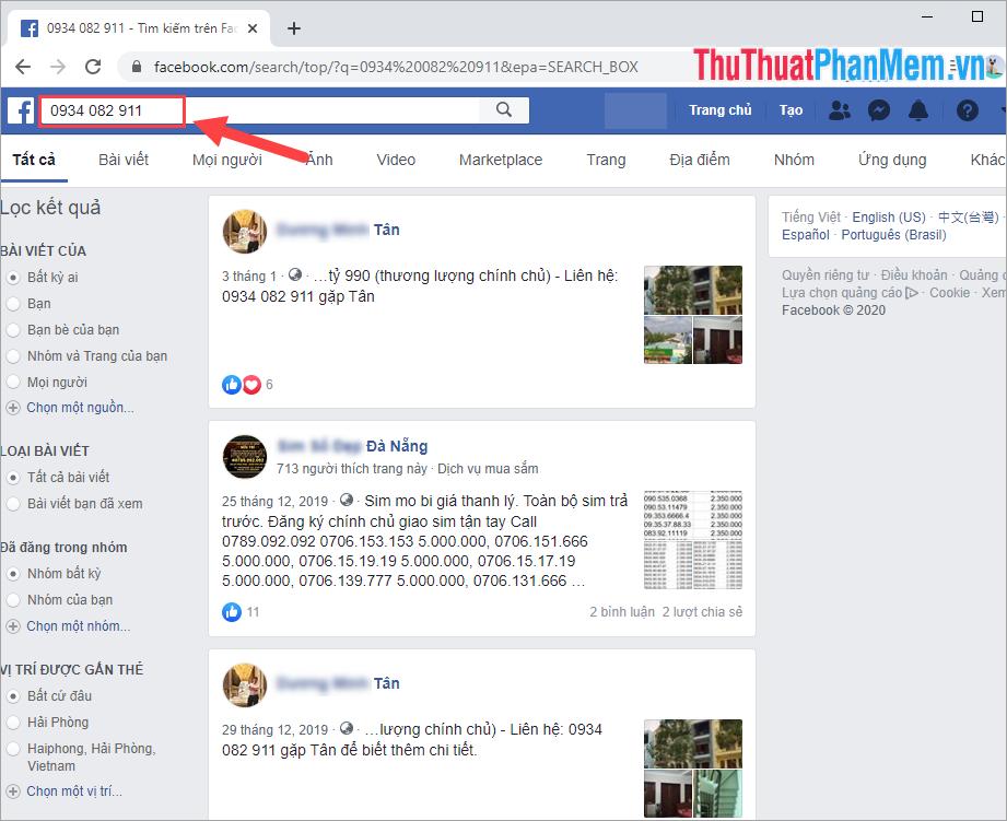 Tra cứu thông tin số điện thoại trên Facebook