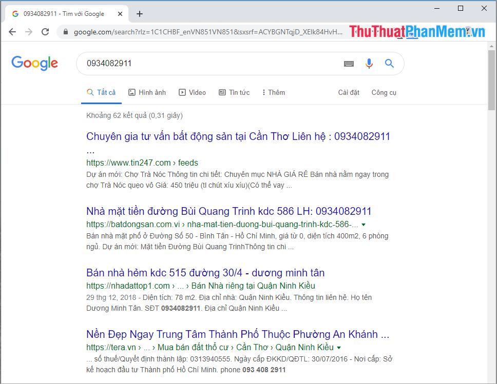 Tra cứu thông tin số điện thoại trên Google