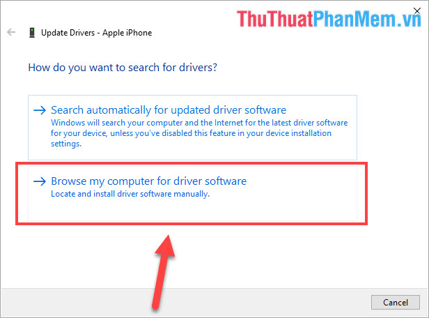 Chọn Browse my computer for driver software