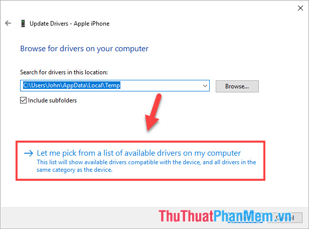 Chọn Let me pick from a list of available driver on my computer