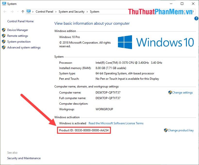 Theo dõi phần Windows Activation