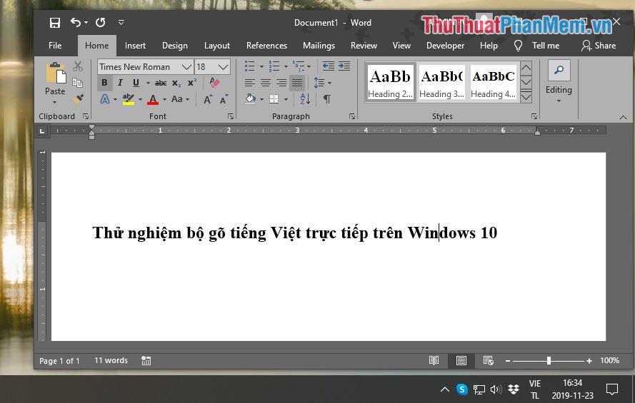 Chúng ta đã thiết lập xong bộ gõ tiếng Việt mặc định trên Windows 10