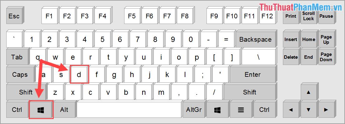Phím tắt Show Desktop – Thu nhỏ toàn bộ cửa sổ trên Windows