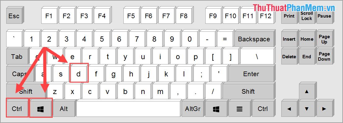 Sử dụng phím tắt Windows + Ctrl + D