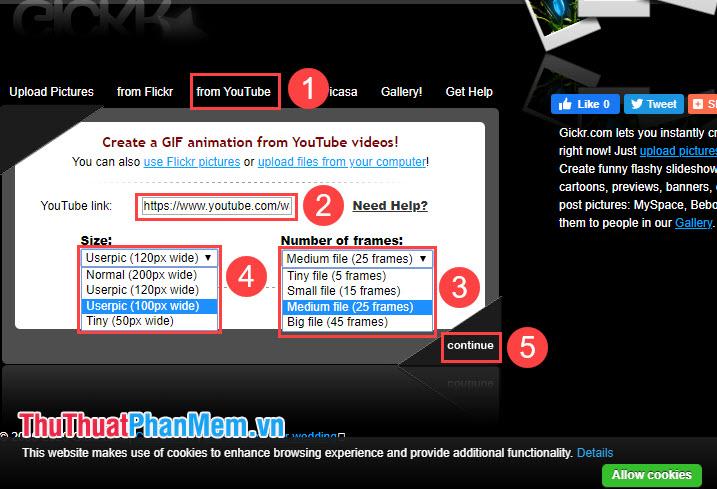 Bạn click vào from Youtube (1) và dán link video Youtube ở mục Youtube link (2)