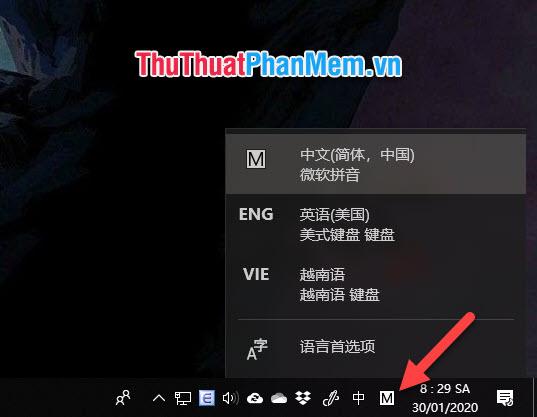Để chuyển đổi qua lại giữa những ngôn ngữ đã cài đặt, các bạn chỉ cần bấm vào biểu tượng viết tắt ngôn ngữ trên thanh Taskbar dưới góc phải màn hình