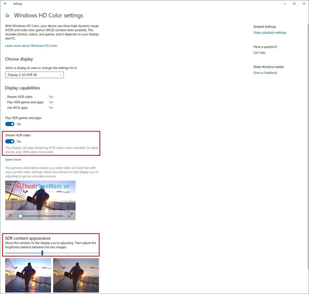 Nhấn vào Windows HD Color Settings để thiết lập HDR sao cho hiệu quả nhất