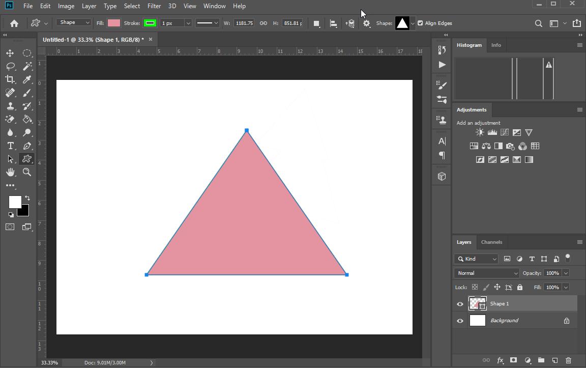 Bạn nhấn giữ và kéo chuột để tạo thành hình tam giác