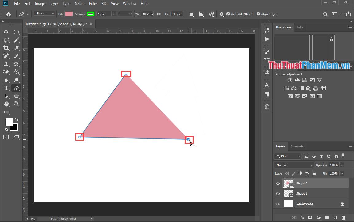 Click vào điểm đầu tiên chúng ta chấm để hoàn thiện hình tam giác