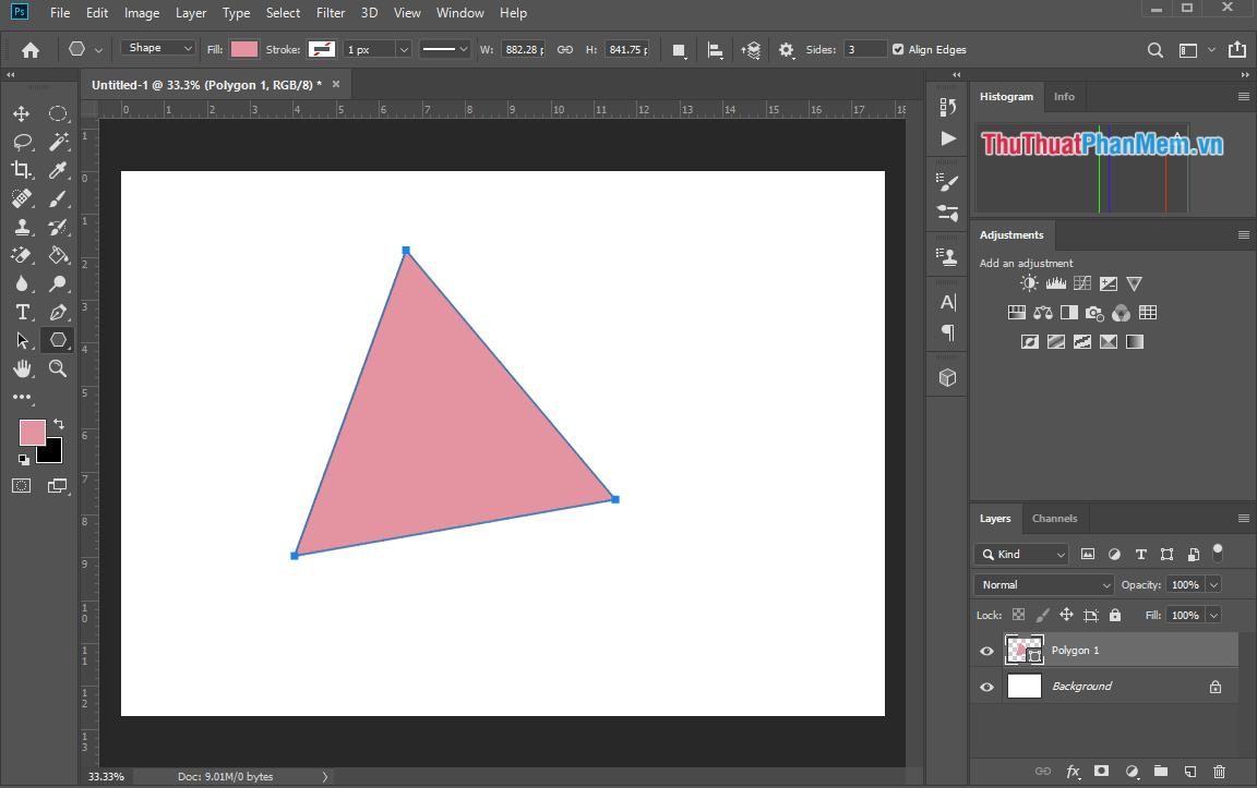 Giữ chuột và kéo để tạo hình tam giác theo thiết lập trước