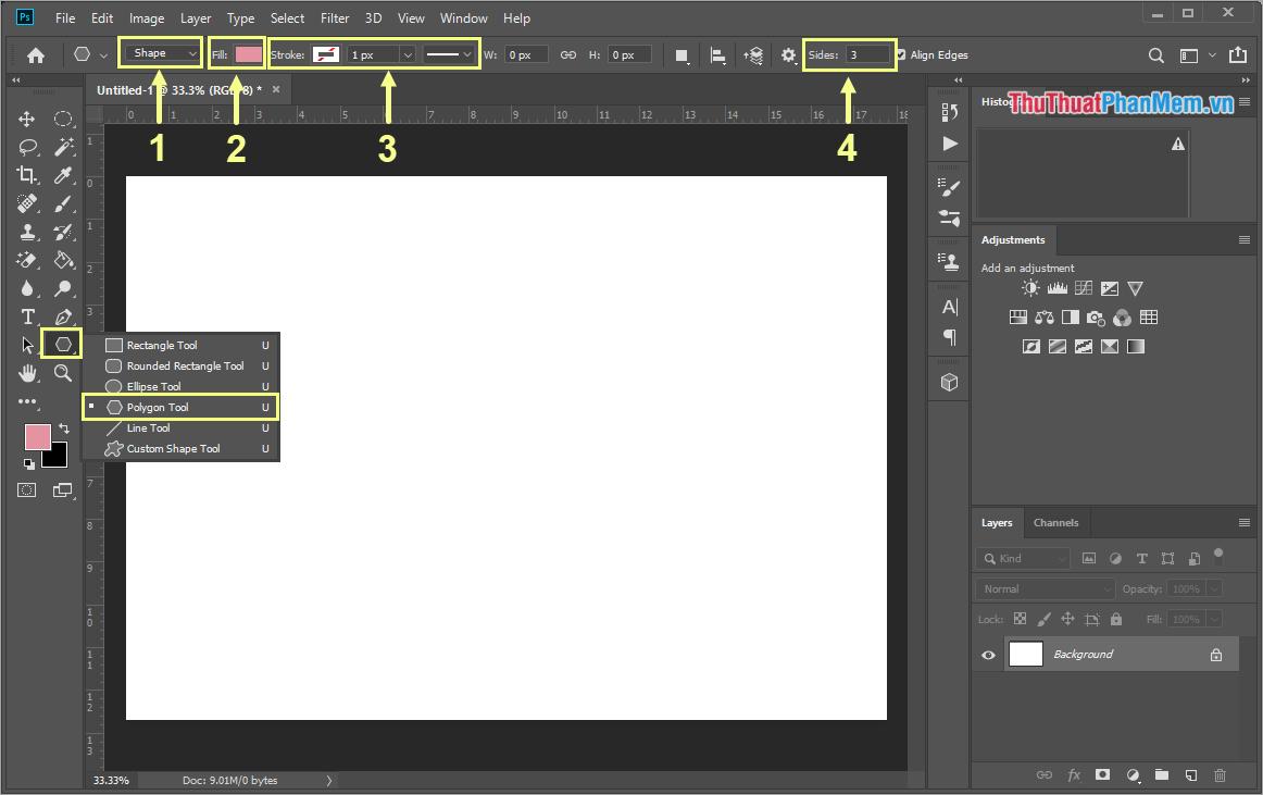 Giữ chuột vào công cụ Polygon Tool và chọn Polygon Tool