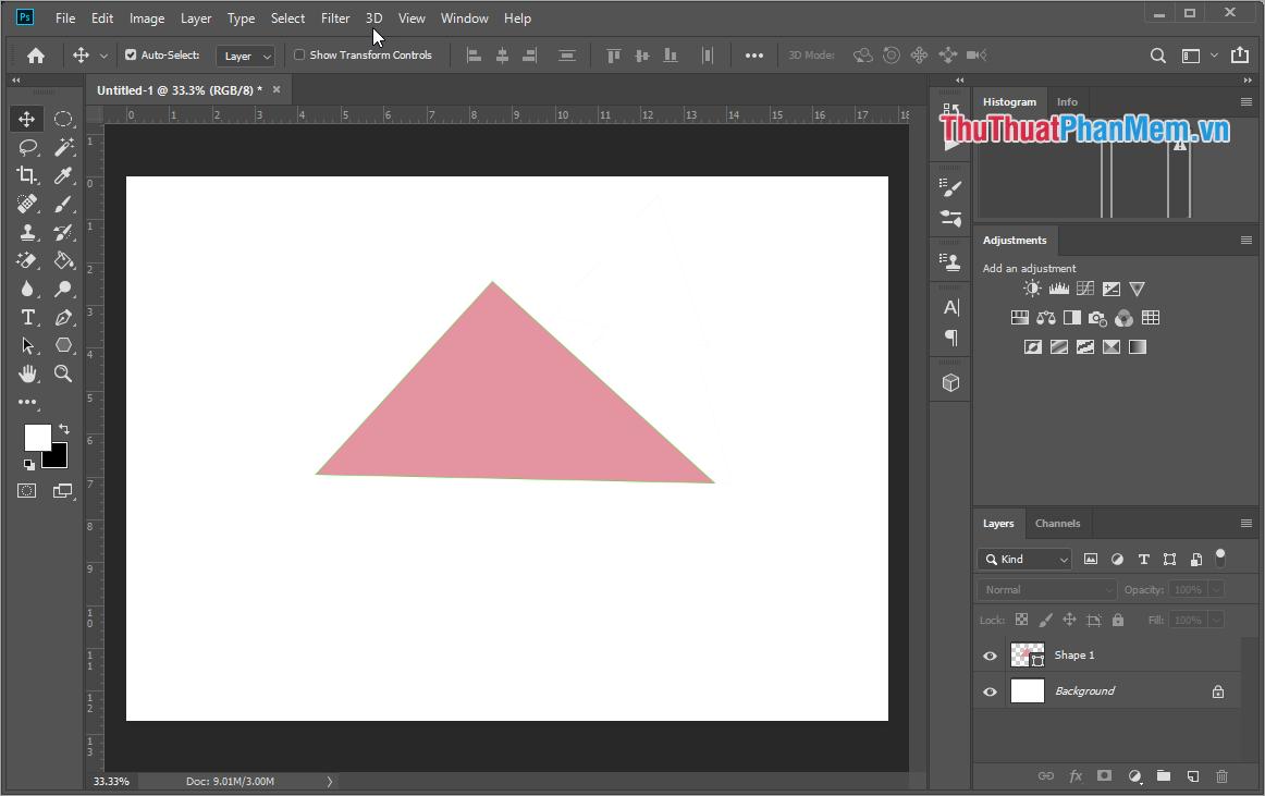 Hình tam giác vẽ bằng công cụ Pen Tool