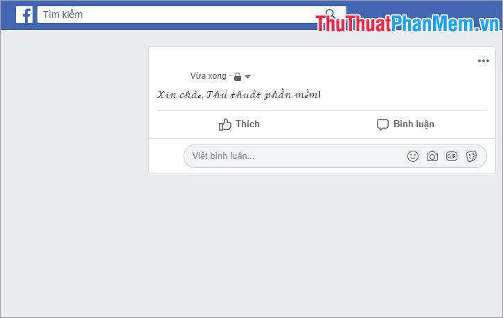 Kết quả sau khi thay đổi font chữ trên Facebook
