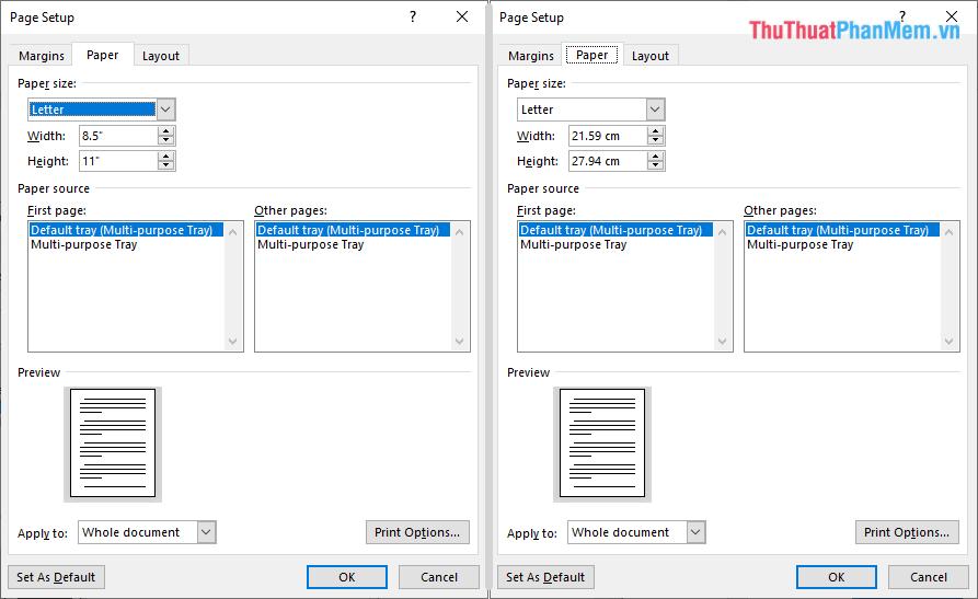 Ngay lập tức phần mềm Word sẽ được chuyển sang Centimet trong các đơn vị đo