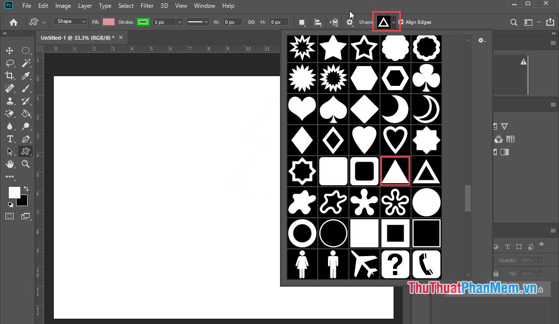 Nhấn vào Shape để chọn hình ảnh mà mình muốn vẽ