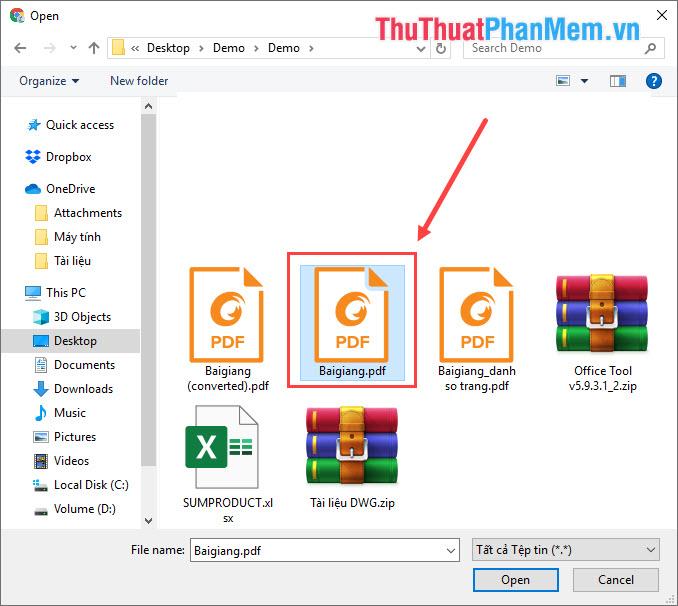 Các bạn chọn file PDF cần chỉnh sửa và nhấn Open để tải lên