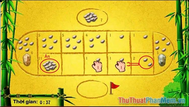 Đến khi rải đến viên cuối cùng mà ô bên cạnh đó là một ô trống rồi đến một ô có quân, người chơi sẽ được phép ăn quân ở ô đó