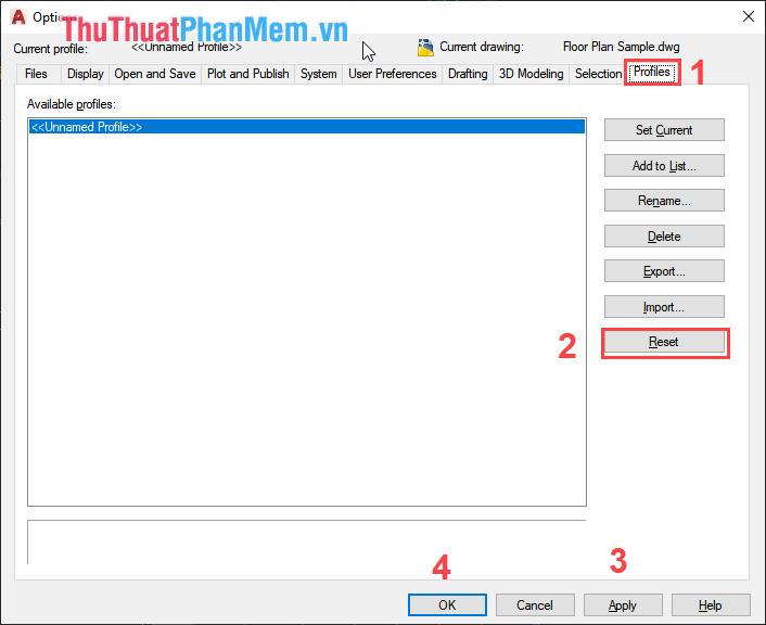 Chọn thẻ Profiles và nhấn Reset