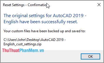 Hệ thống sẽ tự động thiếp lại AutoCAD của các bạn như lúc ban đầu mới cài đặt