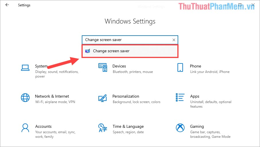 Nhập Change screen saver và chọn mục cùng tên