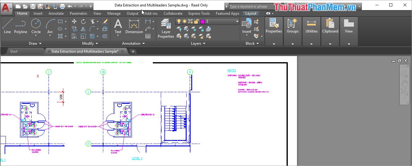 Sau khi ấn vào, các công cụ lại hiển thị lại một cách bình thường như lúc mới cài đặt AutoCAD