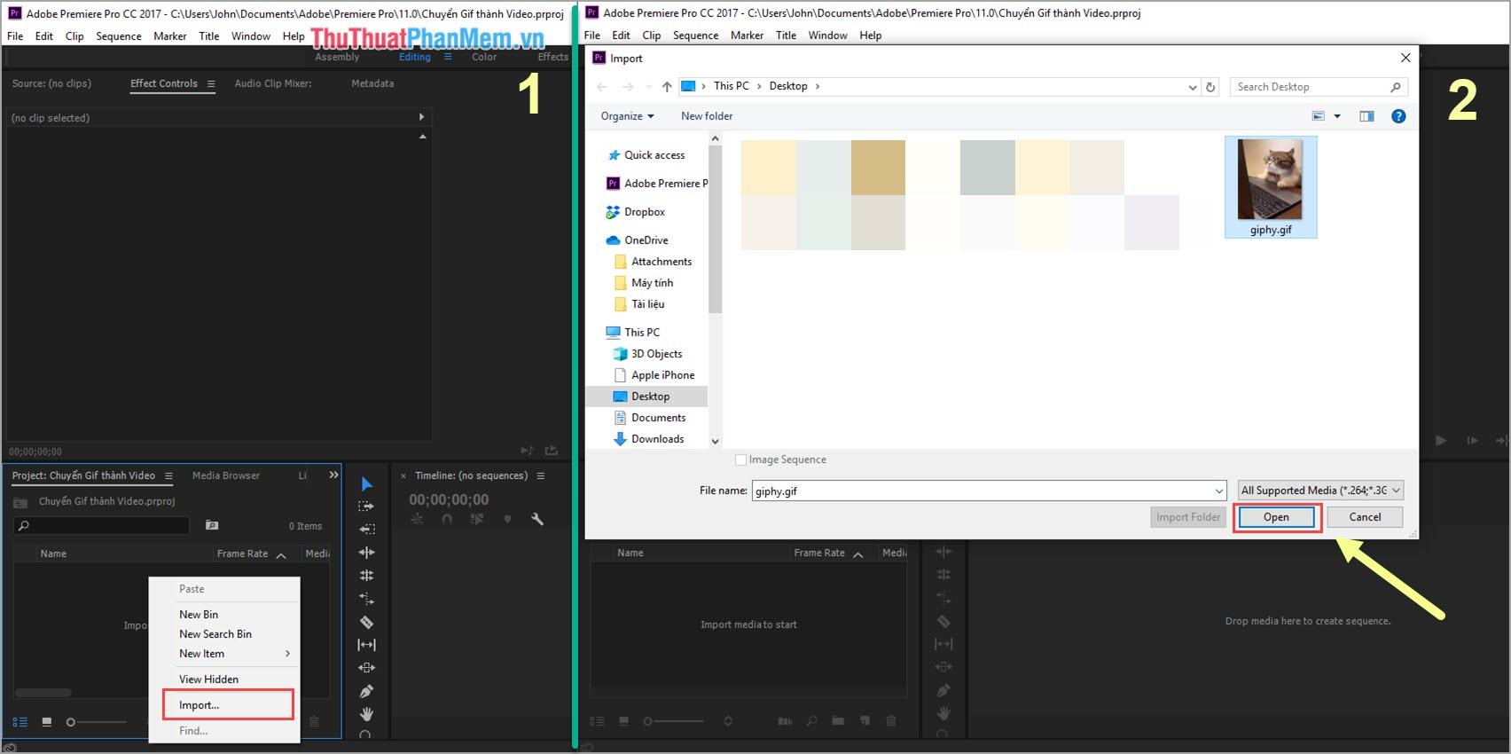 Chọn file GIF cần chuyển thành Video